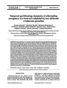Temporal partitioning: dynamics of alternating occupancy of a host ...