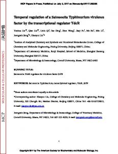 Temporal regulation of a Salmonella Typhimurium virulence factor by ...