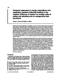 Temporal responses in energy expenditure and respiratory quotient ...