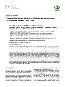 Temporal Trends and Predictors of Modern Contraceptive Use in ...