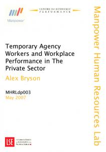 Temporary Agency Workers and Workplace Performance in the ...