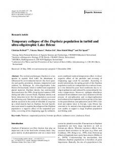 Temporary collapse of the Daphnia population in turbid ... - Springer Link