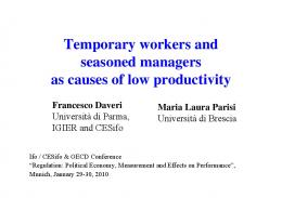 Temporary workers and seasoned managers as causes of ... - OECD.org