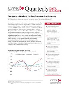 Temporary Workers in the Construction Industry - CPWR