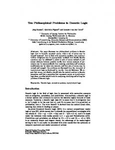 Ten Philosophical Problems in Deontic Logic - Individual and ...