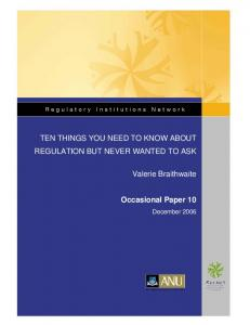 TEN THINGS YOU NEED TO KNOW ABOUT REGULATION BUT ...