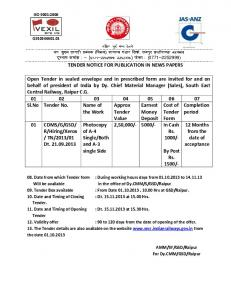 tender form - South East Central Railway