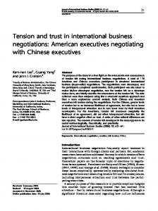 Tension and trust in international business negotiations - CiteSeerX