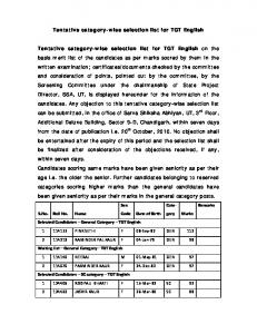 Tentative category-wise selection list for TGT English ... - SSA