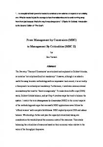 Tentative [everything here is tentative] title: Management by ...