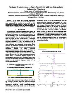 Terahertz Dipole Antenna in Fabry-Perot Cavity with two ... - IEEE Xplore