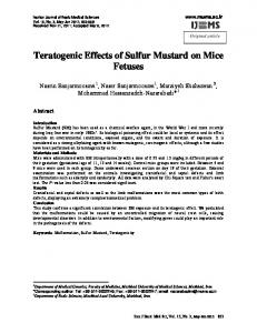 Teratogenic Effects of Sulfur Mustard on Mice