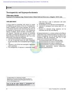 teratogenicity and hyperprolactinemia