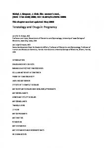 Teratology and Drugs in Pregnancy