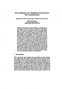 Term Similarity and Weighting Framework for Text ... - Semantic Scholar