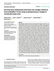 term widespread avian body size changes ... - Wiley Online Library