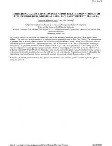 TERRESTRIAL GAMMA RADIATION DOSE AND ITS ...