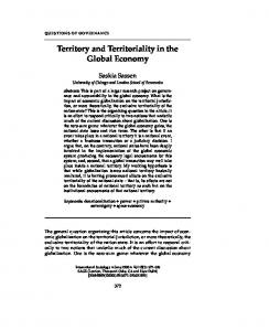 Territory and Territoriality in the Global Economy - Saskia Sassen