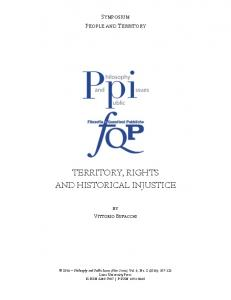 territory, rights and historical injustice - Philosophy and Public Issues