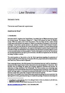 Terrorism and financial supervision - Utrecht Law Review