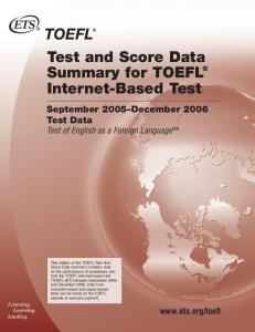 Test and Score Data Summary for TOEFL Internet-Based Test