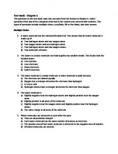 Test Bank - Chapter 5 - Middle School Chemistry