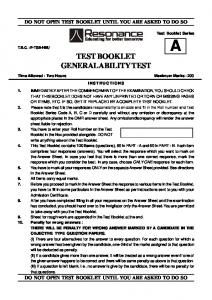 TEST BOOKLET GENERAL ABILITY TEST - Resonance