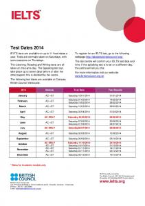 Test Dates 2014 - British Council