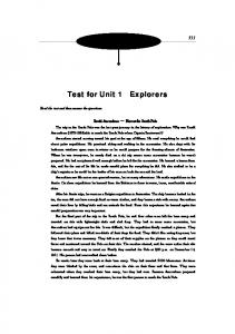 Test for Unit 1 Explorers