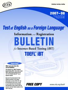 Test of English as a Foreign Language™ TOEFL® iBT