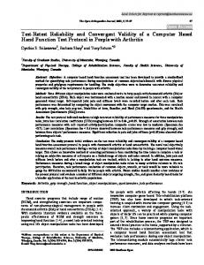 Test-Retest Reliability and Convergent Validity of a