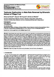 Testicular Dysfunction in Male Rats Reversed by Ethanolic Extract of