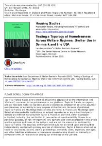 Testing a Typology of Homelessness Across Welfare Regimes: Shelter ...