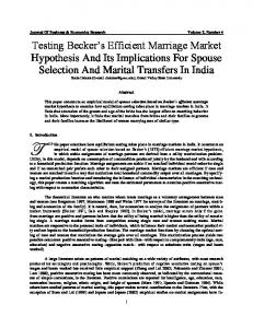 Testing Becker's Efficient Marriage Market Hypothesis ... - Clute Institute