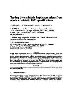 Testing deterministic implementations from nondeterministic FSM ...