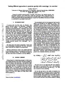 Testing different approaches to quantum gravity with cosmology: An ...