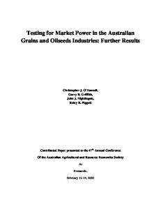 Testing for Market Power in the Australian Grains ... - AgEcon Search