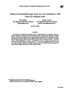 Testing of exponentially large codes, by a new ... - Semantic Scholar