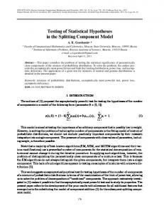 Testing of Statistical Hypotheses in the Splitting ... - Springer Link