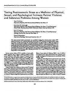 Testing posttraumatic stress as a mediator of ... - Wiley Online Library
