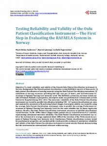 Testing Reliability and Validity of the Oulu Patient ... - Semantic Scholar