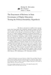 Testing the Political Instability Hypothesis - Institute of Higher Education