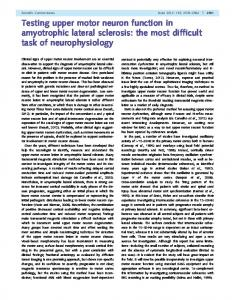 Testing upper motor neuron function in amyotrophic lateral sclerosis ...