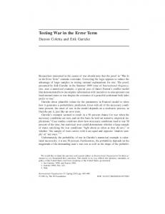 Testing War in the Error Term - Division of Social Sciences