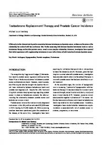 Testosterone Replacement Therapy and Prostate Cancer Incidence