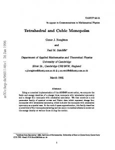 Tetrahedral and Cubic Monopoles