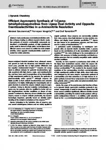tetrahydroisoquinolines from Lipase Dual ... - Wiley Online Library