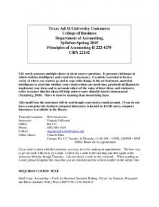 Texas A&M University Commerce College of Business Department ...