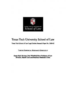 Texas Tech University School of Law - SSRN papers