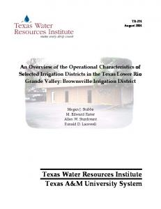 Texas Water Resources Institute Texas A&M University System